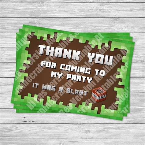Minecraft Thank You Card Template by Minecraft Printable Birthday And 3d Printables