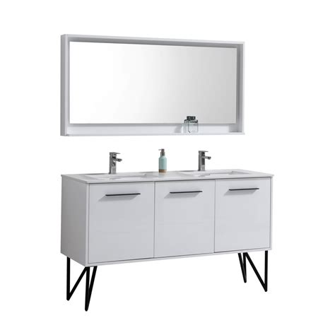 bathroom mirror and matching cabinet bosco 60 quot high gloss white modern bathroom vanity w