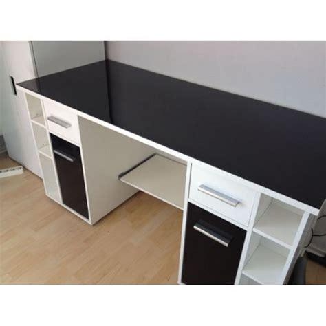 bureau blanc et noir bureau verre noir clasf