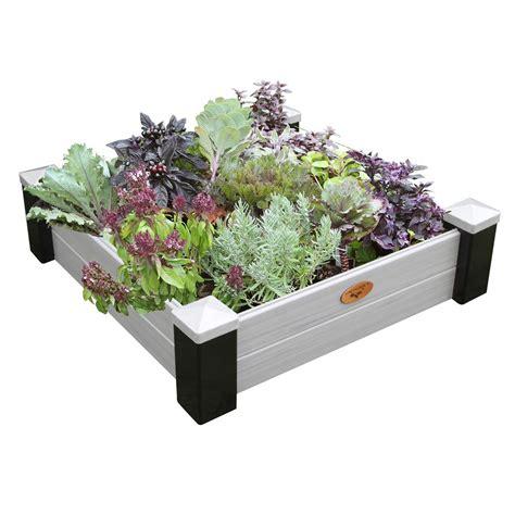 vinyl raised garden beds gronomics 36 in x 36 in x 10 in maintenance free vinyl