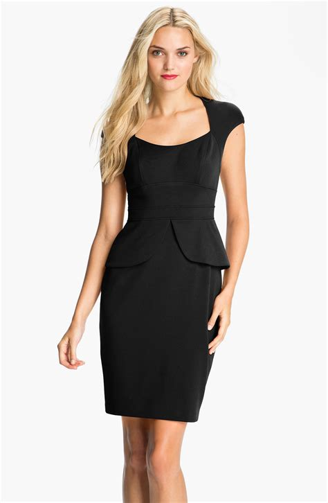 maggy cap sleeve peplum sheath dress in black lyst