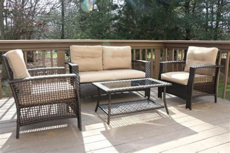 Oliver Patio Set by Oliver Smith Large 4 Pc High Back Rattan Wiker Sofa Set