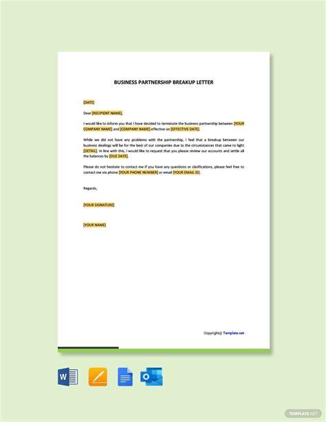 business partnership breakup letter letter