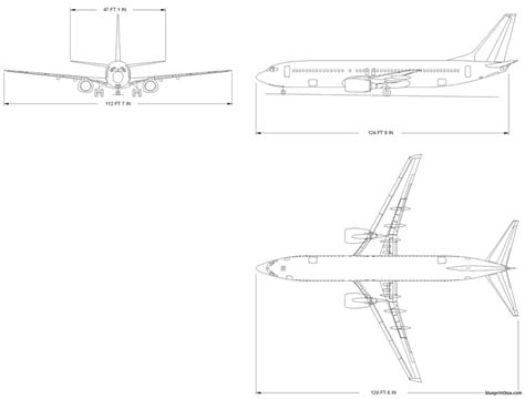 Building Plan Drawing boeing 737 800 plans aerofred download free model