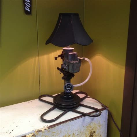 Car Part Home Decor lamp made of old car parts kevin corder art work