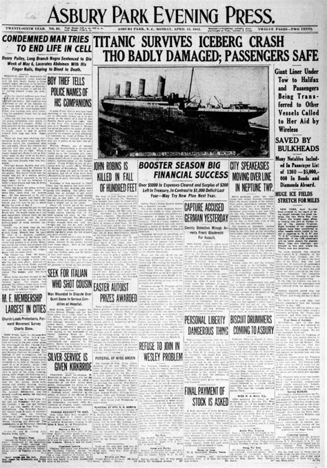 Titanic Sinks Newspaper by Titanic Newspaper Front Pages With The Stories Of