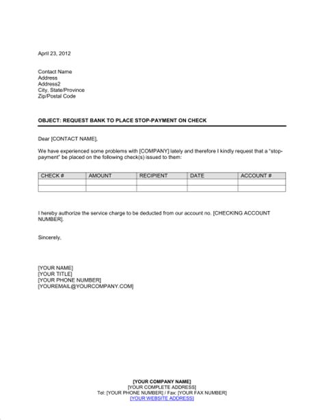 Bank Letter To Stop Payment Request Bank To Stop Payment Template Sle Form Biztree
