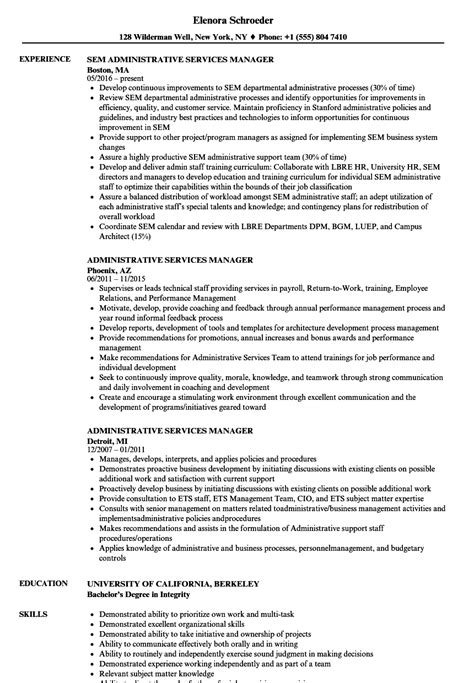 resume format for admin manager administrative services manager resume sles velvet