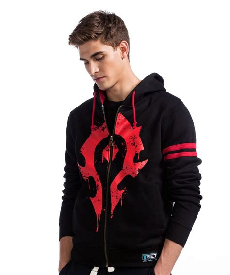 Hoodie Zipper Sweater Nike Logo 04 world of warcraft horde logo sweatshirt black zipper