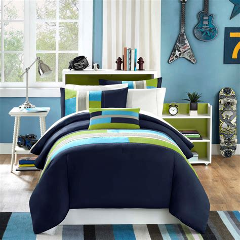 Blue And Green Boys Bedroom by Modern Soft Navy Teal Aqua Blue Grey Stripe Boy Comforter
