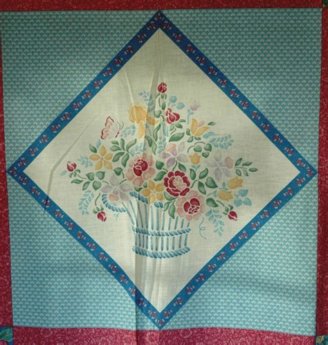 floral basket cheater quilt cotton fabric panel by
