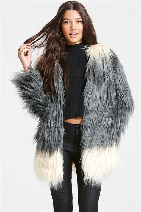 Fur Jacket grey ombre faux fur jacket from uk