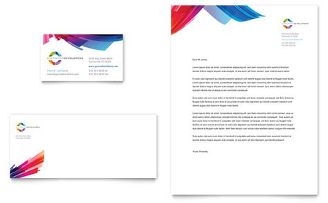 Software Developer Business Card Template by Software Solutions Business Card Letterhead Template Design