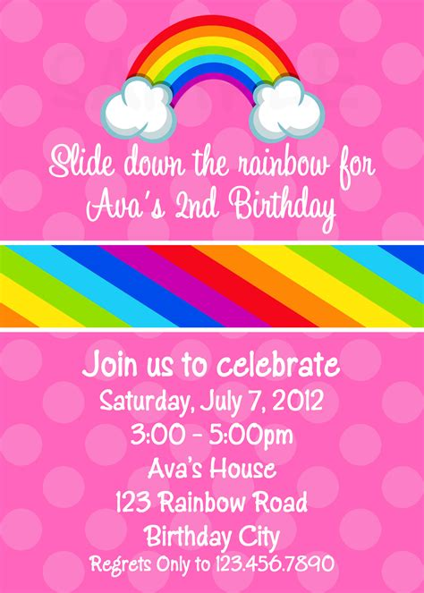 printable birthday cards rainbow party invitations awesome rainbow party invitations