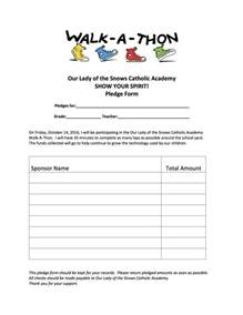 walk a thon pledge form our lady of the snows catholic