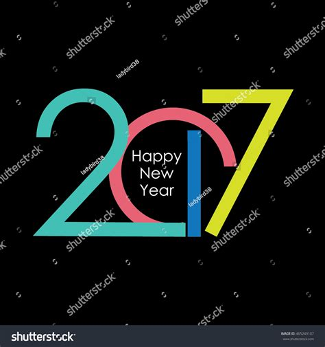 happy new year text vector happy new year 2017 text design vector 465243107