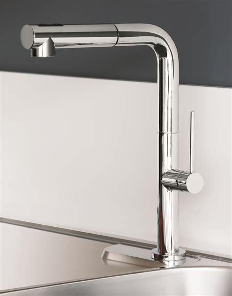 Designer Kitchen Faucets | chrome modern kitchen faucet with pull out dual shower