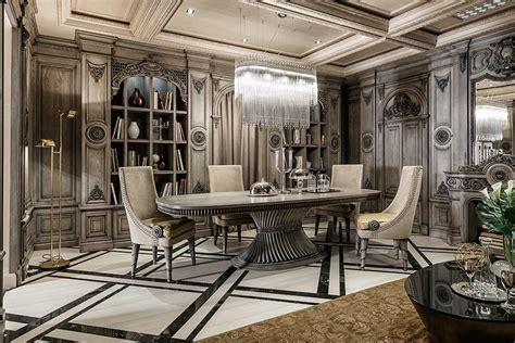 art dining room furniture neoclassical and art deco features in two luxurious interiors
