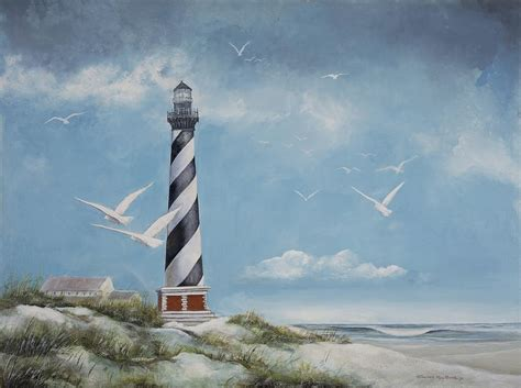 seagulls  cape hatteras lighthouse painting  charles