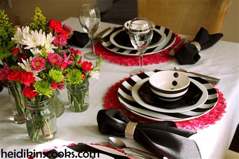 Ikea Pink Plates by Black And White Stripe Table Setting Heidikins Cooks