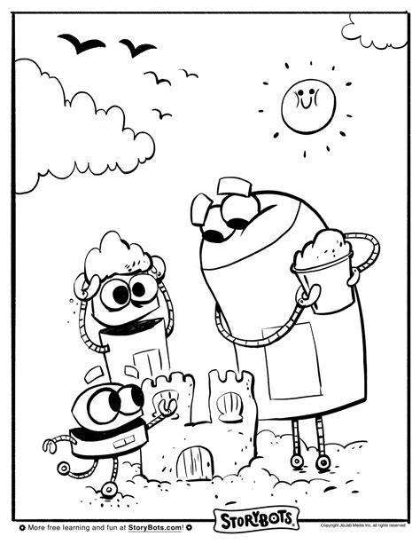 Storybots Coloring Pages storybots sandcastle coloring sheet summer activity