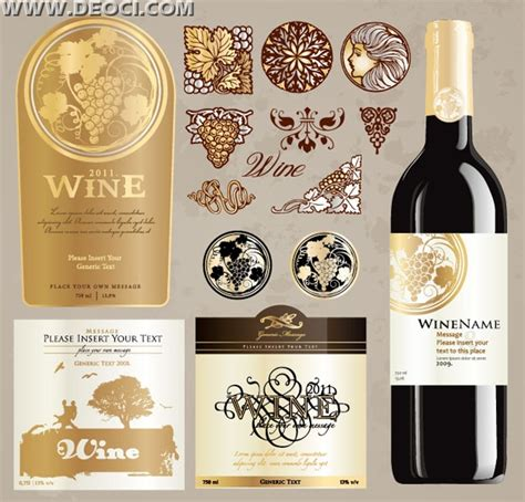 Vintage Wine Label Collection Bottle Packaging Design Template Deoci Com Vector Logo Liquor Bottle Label Templates Free