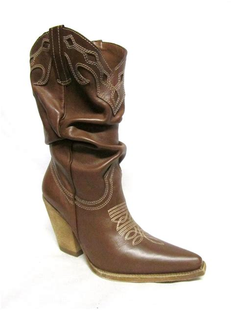 schutz high heel western whiskey brown leather ruched
