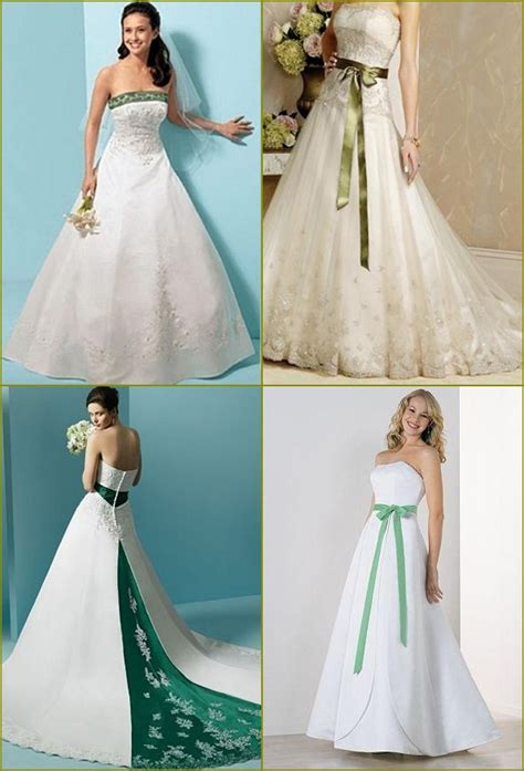 white and green wedding dresses emerald green and white wedding dress