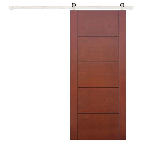 Barn Door Panels Pacific Entries 36 In X 84 In Contemporary Prefinished 5 Panel Flush Mahogany Wood Barn Door