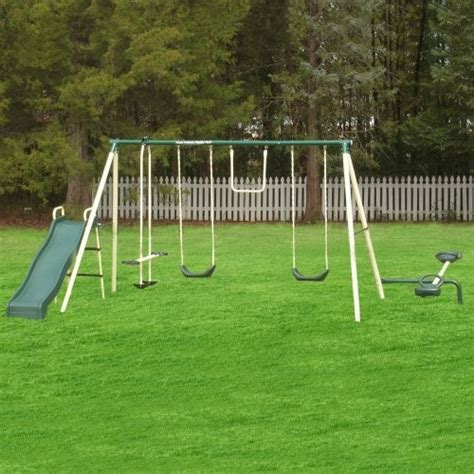 Flexible Flyer Backyard Flyer 6 Station Metal Swing Set Contemporary Kids Playsets And Swing