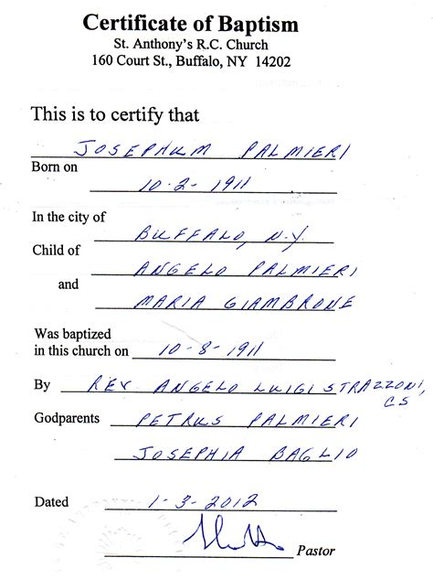 baptism certification letter january 2012 genealogy and jure sanguinis