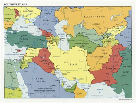 political map of asia with capitals large political map of southwest asia with capitals and