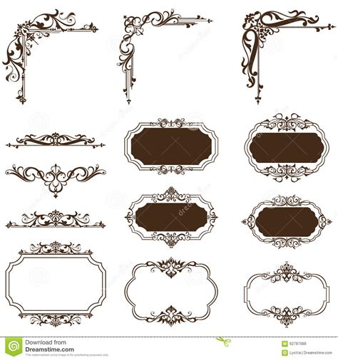 vintage design elements corners vector free vintage corners and lining stock vector image 62787988