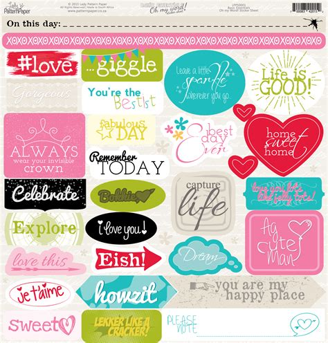 printable word stickers lady pattern paper paper packs oh my word stickers