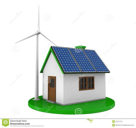 solar house images house with solar panels and wind turbine royalty free