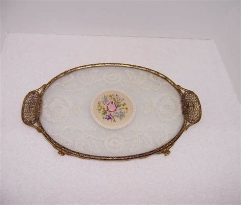 Vanity Tray For Dresser by A Resale Brass And Glass Dresser Vanity Tray