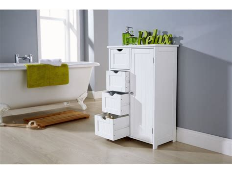 White Multi Use Bathroom Storage Unit 4 Drawer Cabinet Cupboard Shaker Style Ebay Shaker Style Bathroom Cabinet 4 Drawer 1 Door Multi Use