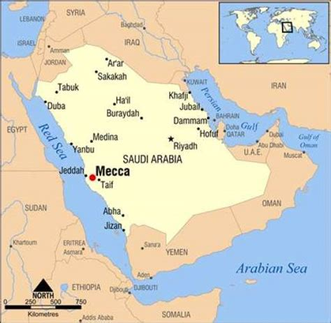 mecca world map map of saudi arabia with location of mecca