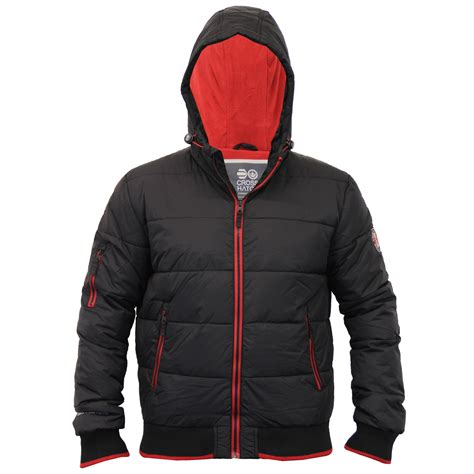 Padded Hooded Jacket mens padded crosshatch jacket quilted fleece lined hooded