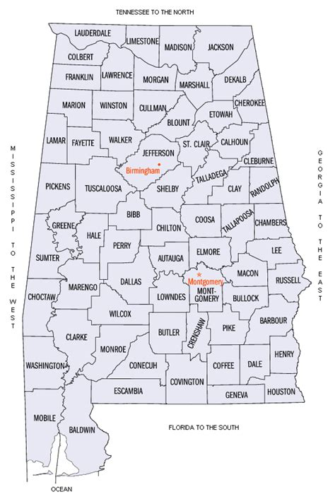 State Of Alabama Records Alabama County Map