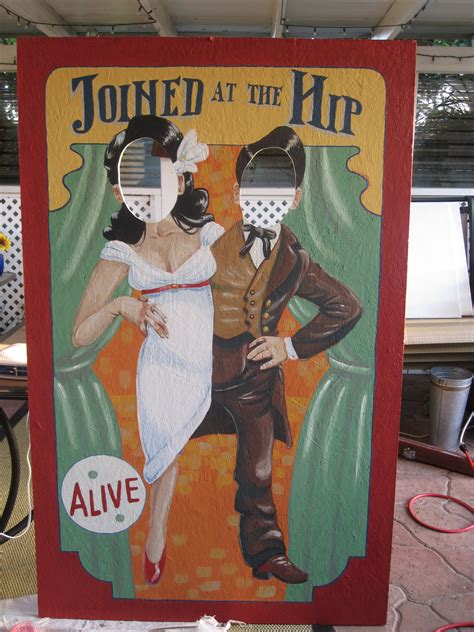 the photo booth for marie and jason life church stuff fun with old timey carnival cut outs offbeatbride