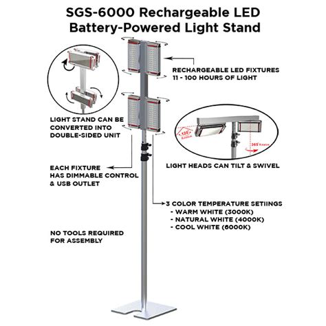 stand lights battery powered sgs 6000 led battery powered light stand