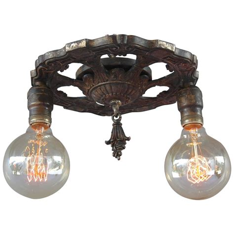 1920s Bathroom Light Fixtures Antique 1920s Two Light Ceiling Mount Light Fixture At 1stdibs