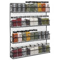 Small Wall Spice Rack 4 Tier Black Country Rustic Chicken Wire Pantry Cabinet