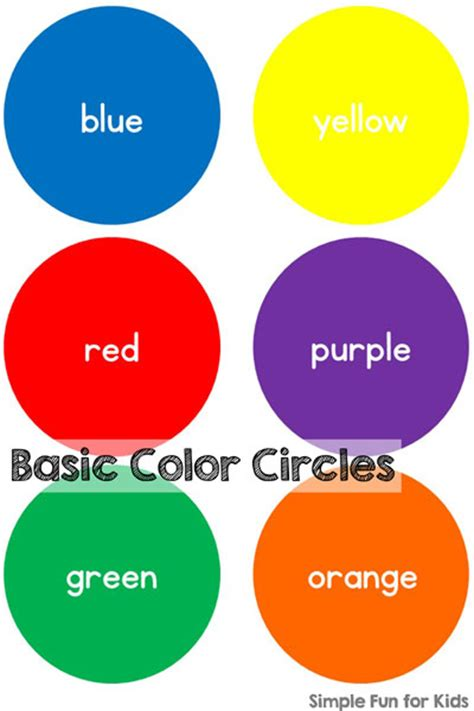 toddler color chart basic color circles simple for