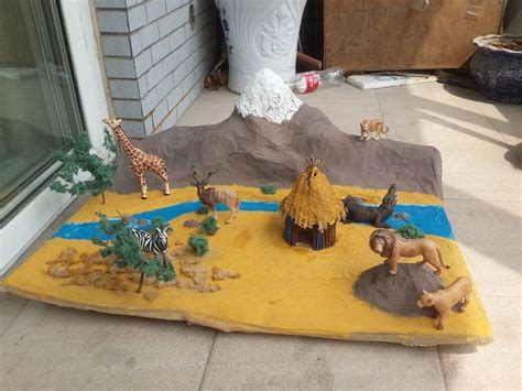 printable giraffe diorama african savanna diorama african savannah model made for my