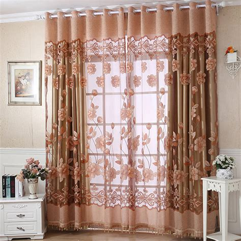 4 Panel Window Curtain Flower Tulle Door Window Curtain Drape Panel Sheer Scarf