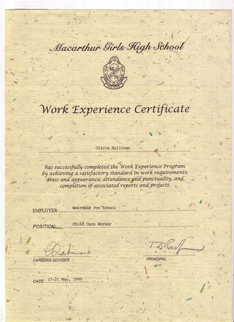Work Experience Certificate Part Time My Early Childhood Study Work Experience Certificate