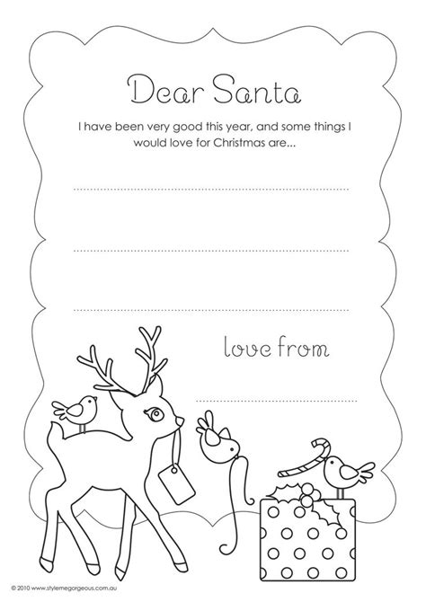 Letter To Santa Template Colour In | dear santa letter template for kindergarten style me