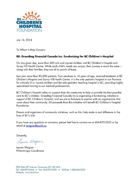 Financial Endorsement Letter Partnering With Bc Children S Hospital Foundation Because We Care Grandtag